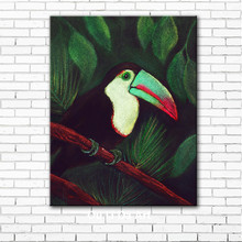 pastoral animal toucan green tree scenery canvas printings oil paintings printed on canvas kid room wall art decoration picture