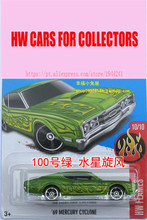 New Hot Wheels 1:64 Custom Green 69th Mercury Cyclone Models Metal Diecast Car Collection Kids Toys Vehicle Juguetes