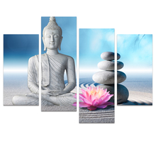 Visual Art Decor Zen Stone Buddha Canvas Wall Art Blue Sky White Sand Buddha Artwork Canvas Wall Art Prints Home Wall Decoration