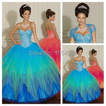 Princess Girls Quinceanera Dresses Ball Gown Luxury Beaded with Jacket Ruffles Rainbow Color Sweetheart Cupcake Pageant Frock