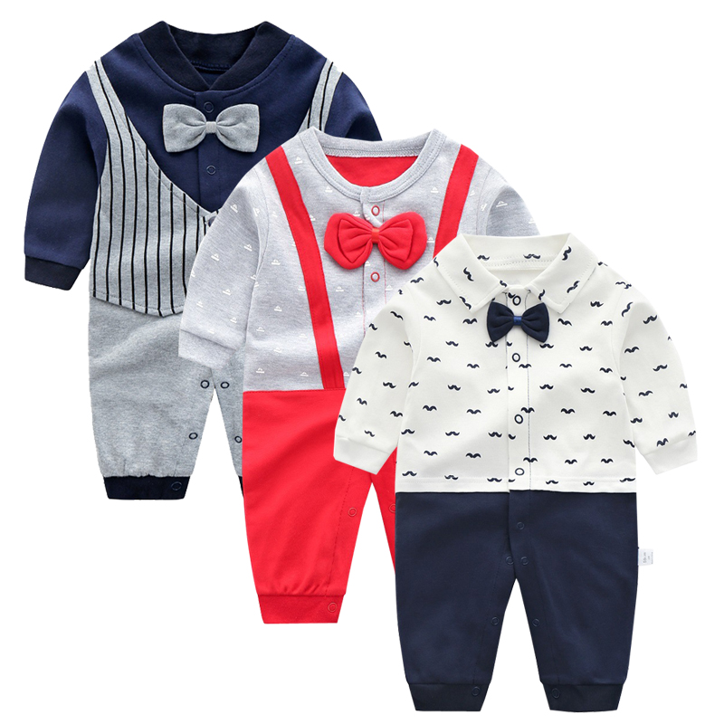 Ding Dong Baby Boy Cotton Gentleman Long Sleeve Bowtie Romper+Black Coat Outfit Set