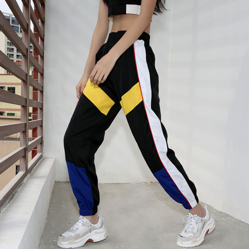 5Sweetown Woman Pencil Pants Casual Loose Pantalon Femme Spliced Panelled Joggers Women Woven Elastic High Waist Ladies Trousers