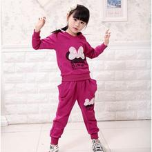 3 Colors Kids Sport Wear Baby Clothing Set Girls Sport Suit Baby Clothes Baby Garment Sport Suit Fashion Butterfly Set(China)