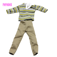 1Set Long Sleeve T-shirt And Pants stripe Doll Clothes Casual for barbie Ken boy friend dolls