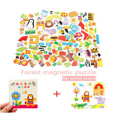 Animal Wooden Magnetic Puzzle Toys Farm&Forest&Cartoon Figure Educational Jigsaw Baby's Drawing Puzzles Easel for Children Girls(China)