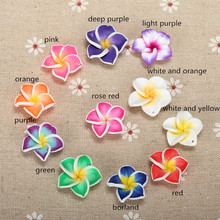 20pc/lot 20mm Yiwu Market Beautiful Soft Clay Polymer Fimo Plumeria Flower Beads Decorated Hawaii Earring Jewelry Craft Material(China)