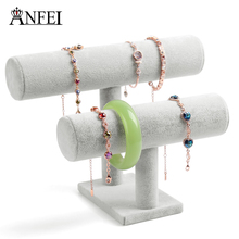 ANFEI Hot Sale ! New Fashion Gray Velvet Wood 2 Layer T-bar Necklace Chain Bracelet Display Stand Shelf Holder Jewelry Organizer