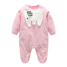 Spring Autumn Boys Girls Elephants Print Long Sleeve Baby Clothes Children's Rompers Jumpsuit