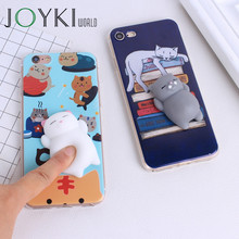 Lovely 3D Squishy Cat silicon Cartoon Cute Cases For Iphone 5 5S SE 6 6S 7 7 Plus phone Cases Soft TPU phone Cover(China)