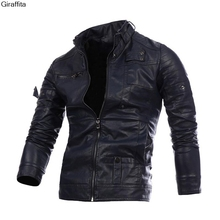 Mens Leather Jackets Fashion Slim Solid Coat Pu Clothes Male Winter Long Sleeves Stand Collar Leather Coat