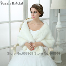 New In Stock Bridal Jacket Coat Bolero Shrug Wedding Accessories Faux Fur White Wraps Winter Wedding Shawls and Wraps 17013