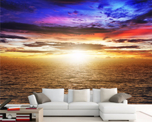 Beibehang Large wallpaper golden ocean landscape paintings luxury 3 d wall of setting of the s room the bedroom mural wallpaper(China)