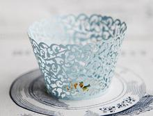 2017 Free Shipping Light Blue Lace Fancy Flower Wedding Cupcake Wrappers Color Paper Mini Cupcakes Cup Cake Baking Cups Wrapper(China)