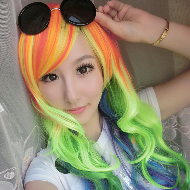 Free Shipping Fashion Synthetic Hair Long Wave Rainbow Dash My Little Pony Wig Cosplay<br><br>Aliexpress