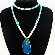 Exclusive High End 6MM Mixed Natural Howlite Long Pendent Beads Necklace Luxury Handmade Beaded Bohemia Women Necklace