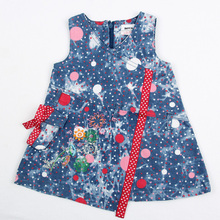 2015 high quality summer clothes sleeveless cowboy color with pocket and dots girl dress fashion style nova kids wear clothes(China)