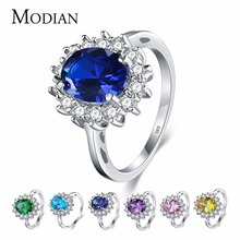 2.0Ct Fasion Real Solid 925 Sterling Silver Ring Fashion Women Gift 5A Zircon Jewelry Brand Wedding Engagement Silver Rings(China)