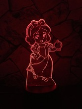 HOT Kawaii Cartoon 3D LED USB Lamp Seven Dwarfs Actress Princess Snow White Apple Girl Birthday Gift 7 Colors Change Toys Decor(China)