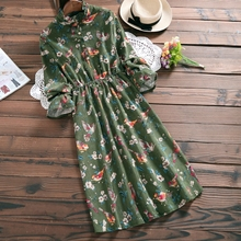 Buy Corduroy vintage flowers birds print flare sleeve dress 2018 spring mori girl for $23.11 in AliExpress store
