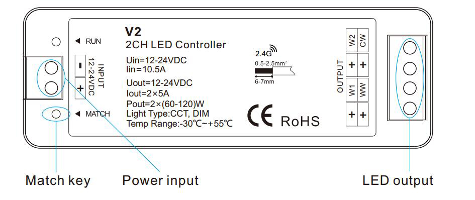 Match-code-of-ww-cw-led-controller
