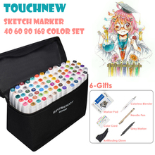 TOUCHNEW 40/60/80/168 Color Art Markers Sketch Drawing Touch Marker Pen Set Alcohol Based Twin Tips Art Supplies With 6 Gifts