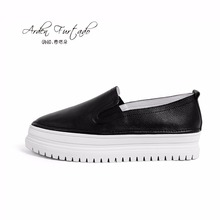 2017 summer shoes for woman genuine leather casual shoes girls loafers lady flats platform sneakers women slip on 4cm moccasin