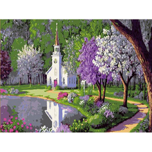 diy picture oil painting on canvas for home decor church in the seaside 40x50 Frameless painting by numbers wall decor w104