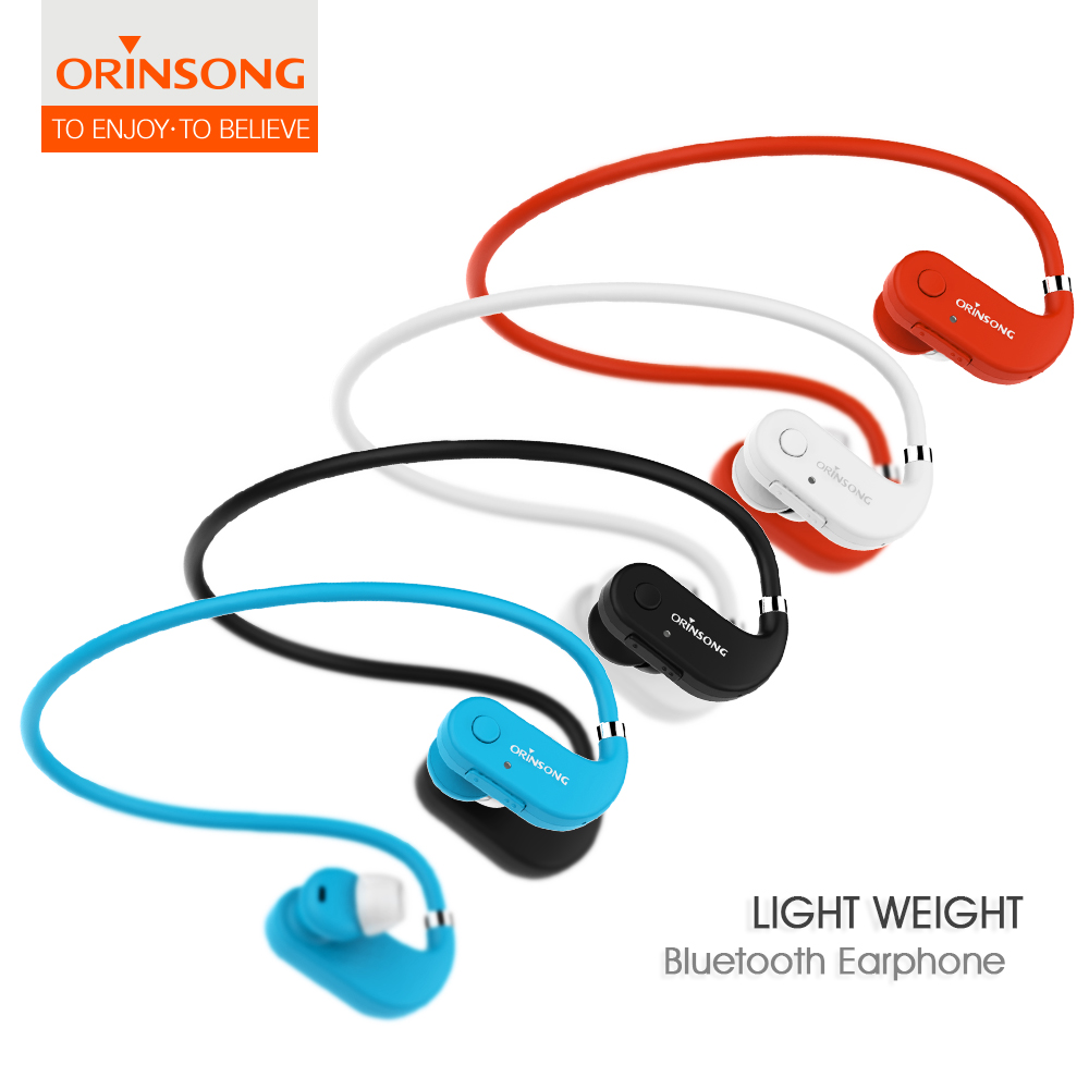 light weight memory steel earphone Bluetooth earphones Wireless Stereo neckband Deep bass neckband with Microphone/for phone<br>