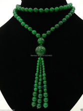 FREE SHIPPING   PARTY NECKLACE GREEN  BEADS LONG NECKLACE PENDANT, 30 INCHES