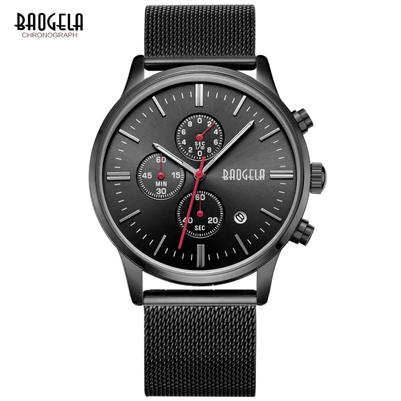 BAOGELA Chronograph Black Watches Mens Quartz-Watch Stainless Steel Mesh Band Slim Men Gold Watch Sports Wristwatches<br>