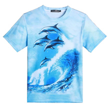 2016 animal design 3D t shirt blue ocean 3 vibrant dolphins print t-shirt harajuku crewneck tee top summer style tops plus size