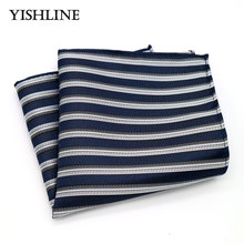 F154 Men's Silk Handkerchief Vintage Hanky Man Jacquard Woven Blue Gray Striped Pocket Square 25*25cm Wedding Party Chest Towel(China)