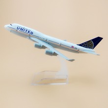 16cm Metal American Air United Airlines Boeing 747 B747 400 Airways Plane Model Aircraft Airplane Model w Stand(China)