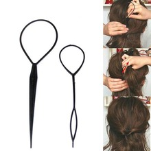 2pcs Ponytail Plastic Loop Styling Tools Black Topsy Pony topsy Tail Clip Hair Braid Maker Styling Tool Fashion Salon MY193(China)