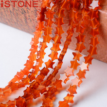 iSTONE Star Shape Natural Red Agat eStone Beads 16 inch For Jewelry Making Diy Crafts