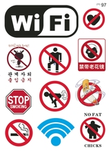 Warning Banning sign labels NO FAT CHICKS Funny Car sticker WiFi Guitar skateboard luggage Laptop Skins Tablet Computer Stickers