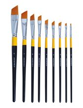 MEEDEN Flat/Angular Paint Brushes Set for Oil Acrylics Watercolor and Gouache Color Painting , 8-Piece
