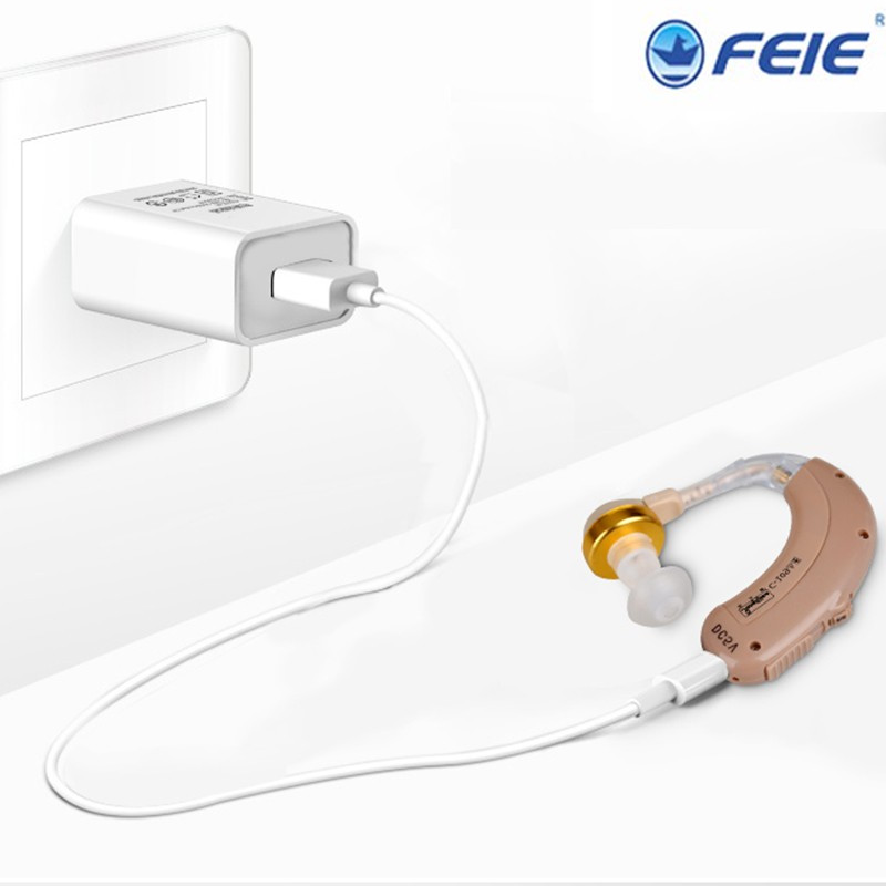 Deaf rechargeable Mini BTE hearing aid headphones C-109 hearing amplifier with EU plug 2017 Newest arrival free shipping<br>