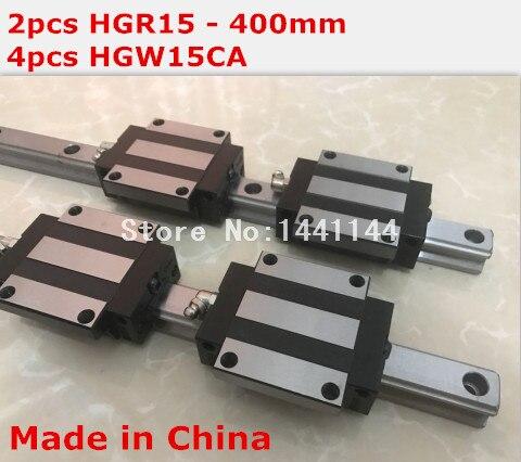 HG linear guide 2pcs HGR15 - 400mm + 4pcs HGW15CA linear block carriage CNC parts<br>