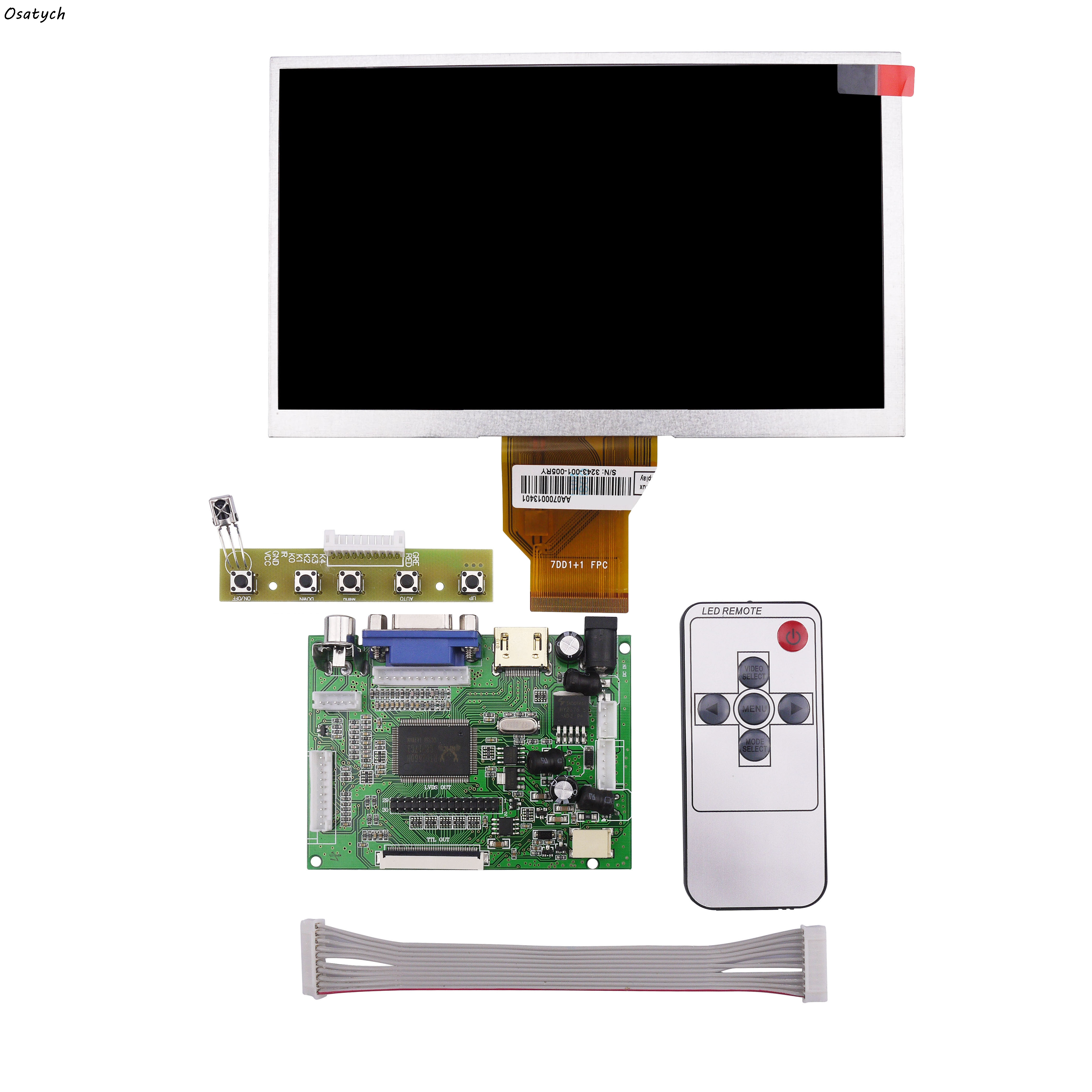 7 Inches for Raspberry Pi 3 LCD Display Screen Matrix TFT Monitor AT070TN90 with HDMI VGA AV Input Driver Board Controller<br>