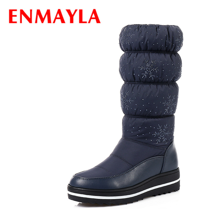 ENMAYLA Fashion Crystal Warm Fur Inside Snow Boots Women Platform Half Boots Black Blue Flast Casual Boots for Women Shoes<br>