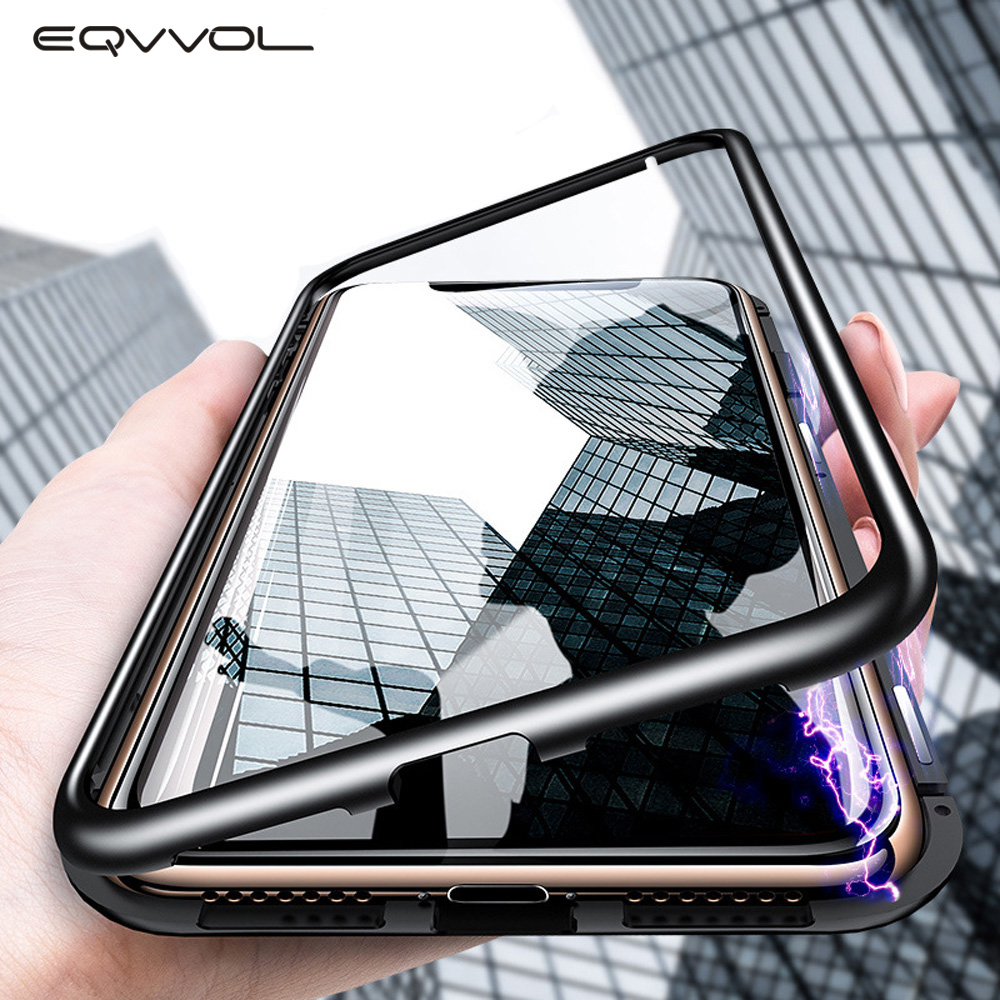 Eqvvol Metal Magnetic Case For iPhone XR XS MAX X 8 Plus 7 10 Tempered Glass Back Magnet Cases Cover For iPhone 7 6 6S Plus Case(China)