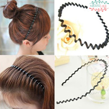 1 pc Fashion Mens Women Unisex Black Wavy Hair Head Hoop Band Sport Headband Hairband hair accessories
