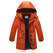 2017 Winter New Boys Thickening Hooded Warm Down Jackets Children Zipper Waist Strap Down Coats Boy Simple Fashion Jacket(China)