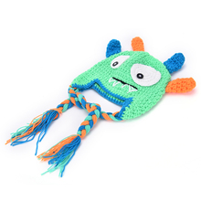 1pcs Toddler Knitting Monster Hat Caps with Earflap Halloween Birthday Gifts Novelty Monster Design Crochet Baby Beanies(China)