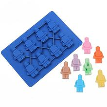 Free shipping 1pcs Silicone Lego Robot Ice Cube Ice Box Chocolate Molds Jelly Molds Candy Cake Mould Bakeware D578