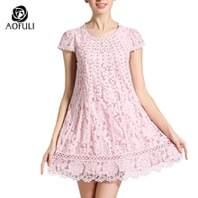 3xl 4xl 5xl Hollow A-line Pink Dress Romantic Flower Lace Crochet Plus Size With Silver Beadings Summer Women Dresses 2339