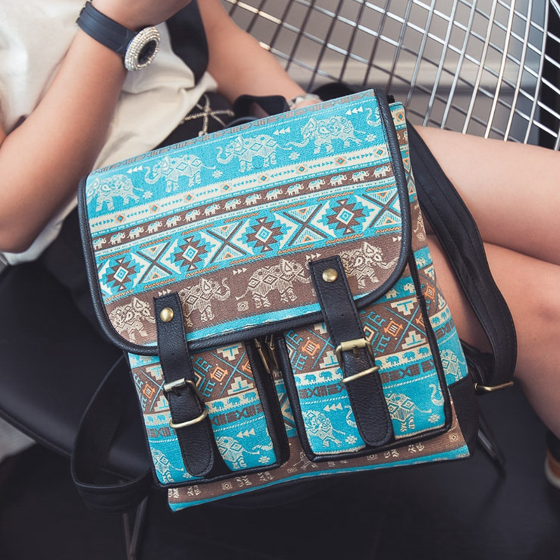 European Women Vintage Square Backpack Ethnic Elephant Printing Canvas Backpack School Bag for Girls Satchel Travel Bag L453<br><br>Aliexpress