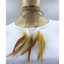 Fashionable new design dreamcatcher choker velvet bow tie pendant choker dream letter feather necklace for women Christmas gifts