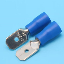 100pcs Blue Insulated Electrical Wire Cable Terminal MDD2-250 PVC pre-insulated jacket 6.3mm plug cold-pressed terminal block